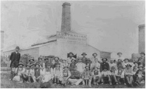 Edgar E. Walker and staff of the original family company - The Australian Brick and Tessellated Tile Company in 1908.